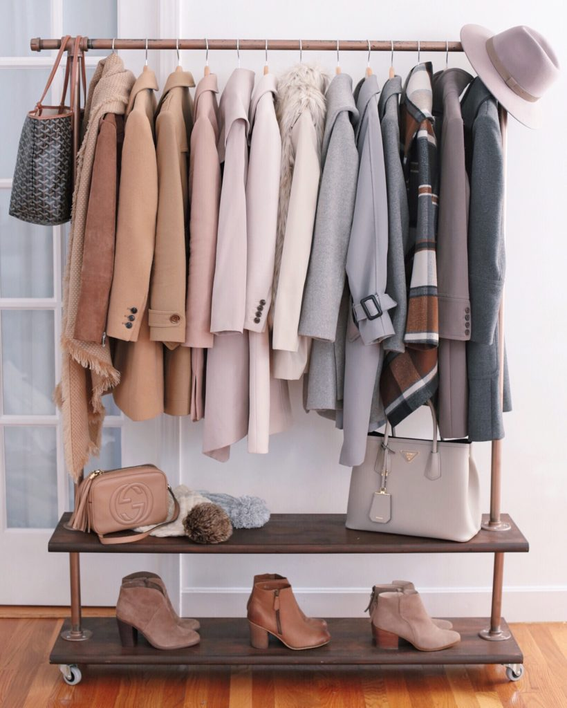 neutral winter coats and boots rack