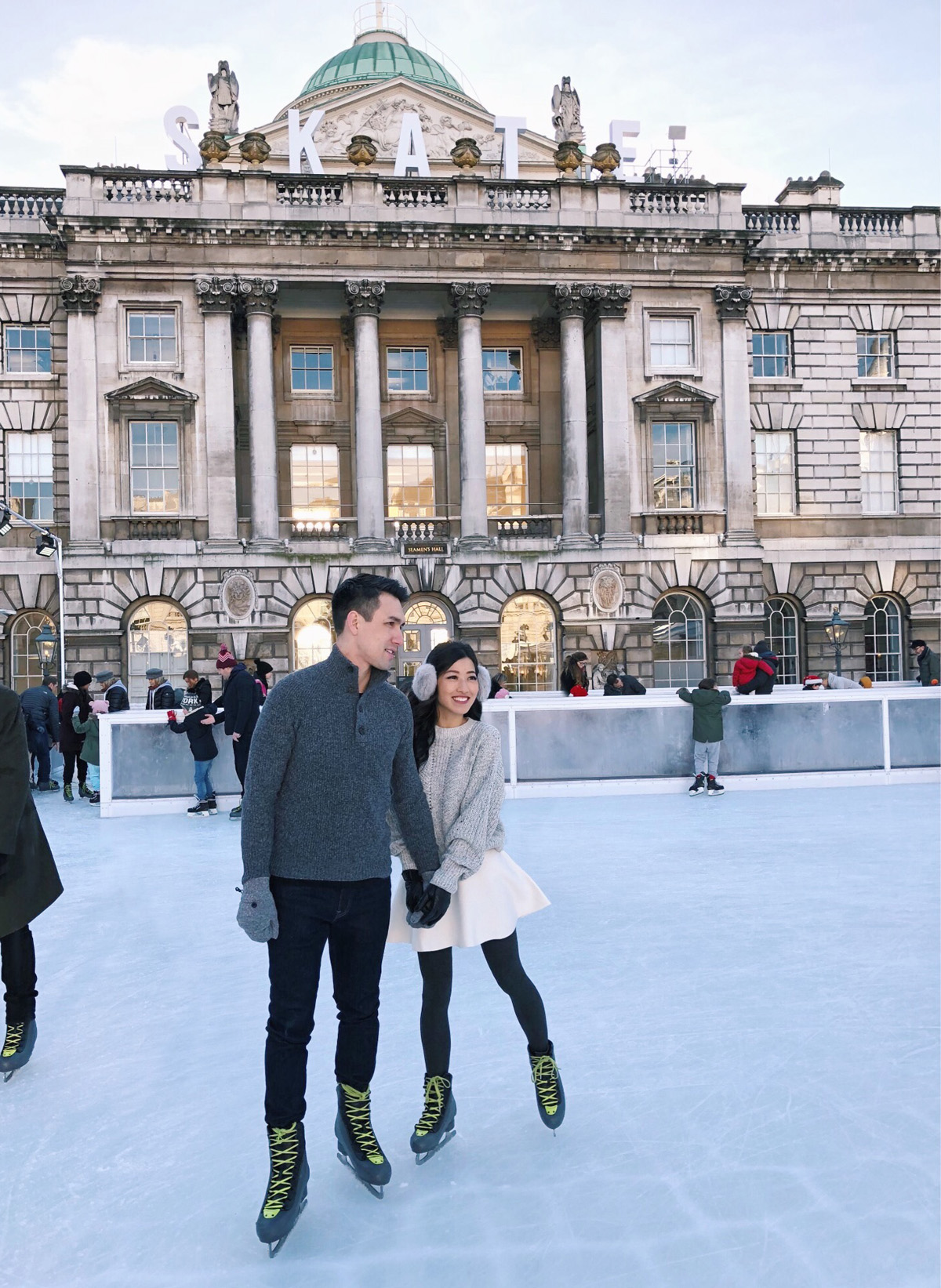 somerset house london ice skating romantic couple activity