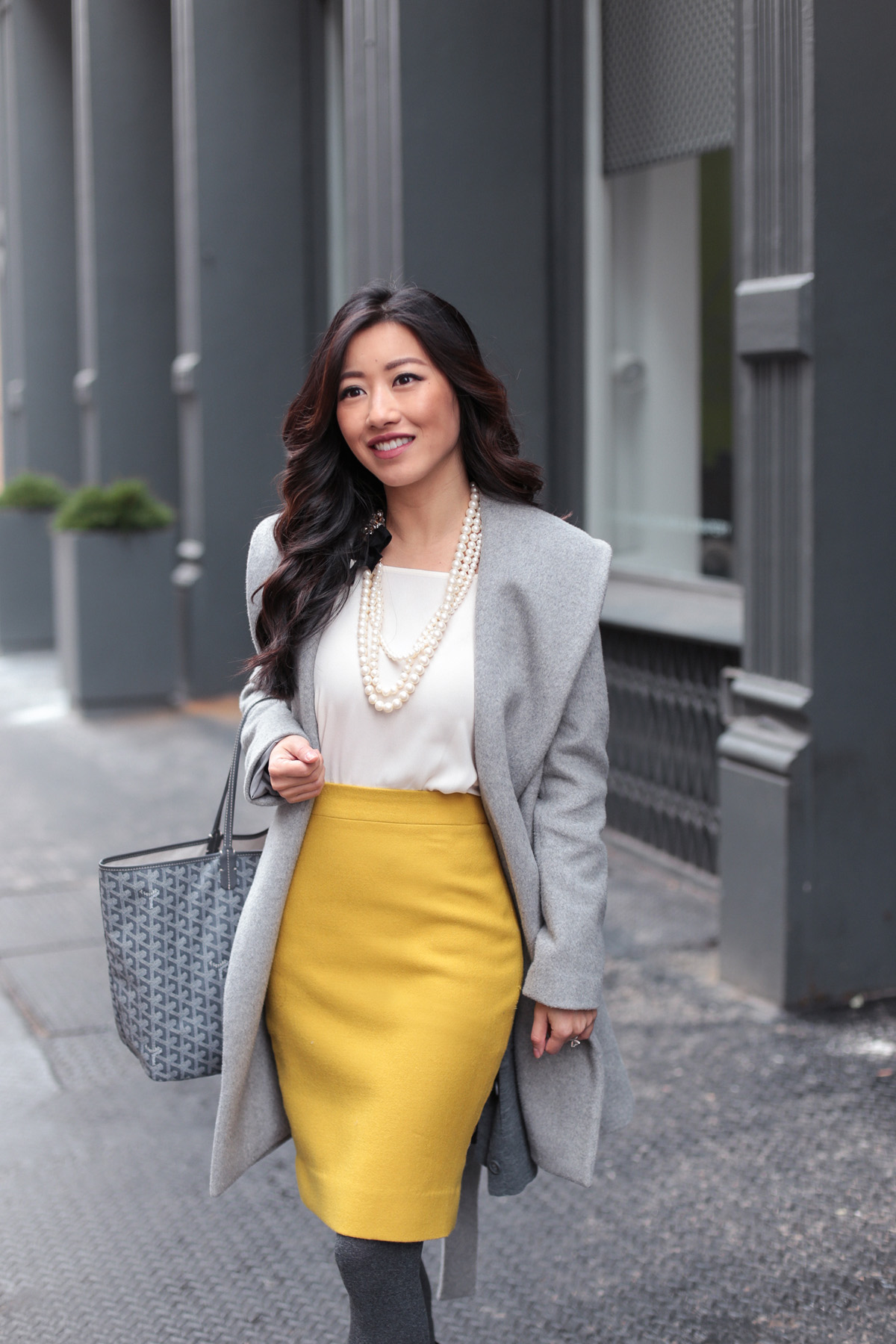 petite fashion blog_winter workwear gray coat mustard yellow pencil skirt