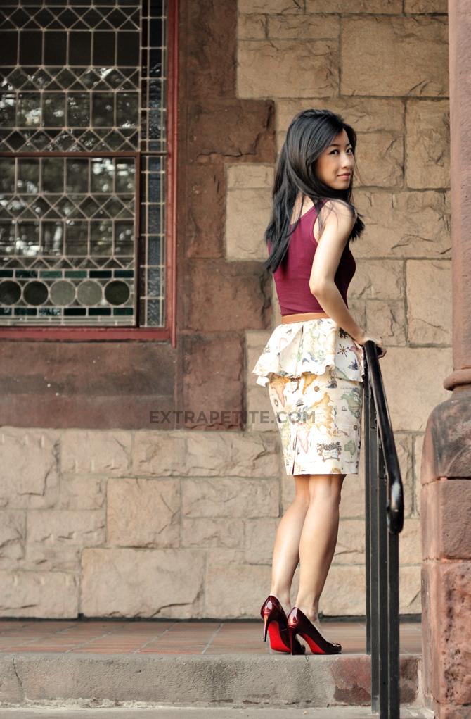 Map Of The World Pencil Skirt With Convertible Peplum Extra Petite