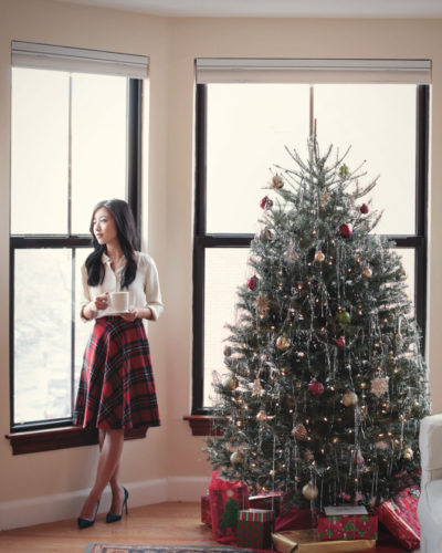 Plaid circle skirt and pine pumps