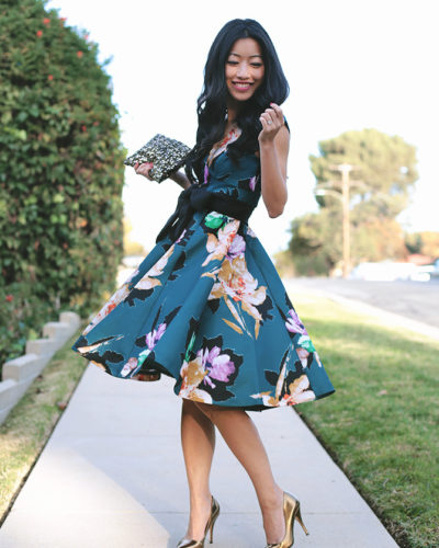 Teal Floral Twirl