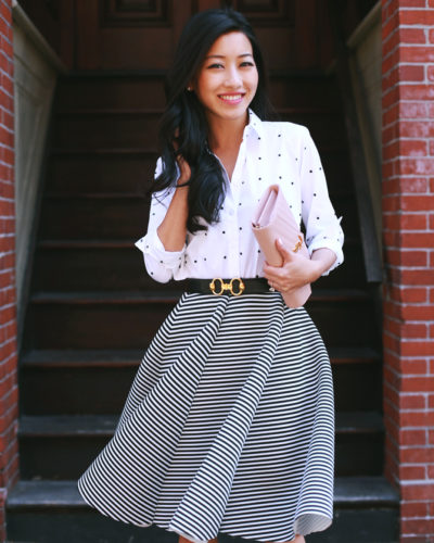 Ann Taylor dotted shirt + swingy striped skirt