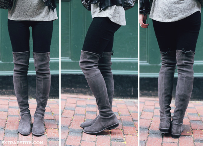 420eb516898 Casual layers + Stuart Weitzman Lowland boots review - Extra Petite