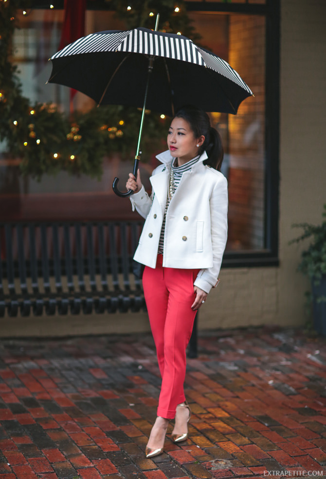 petite white 沟 red pants office 工作 outfit