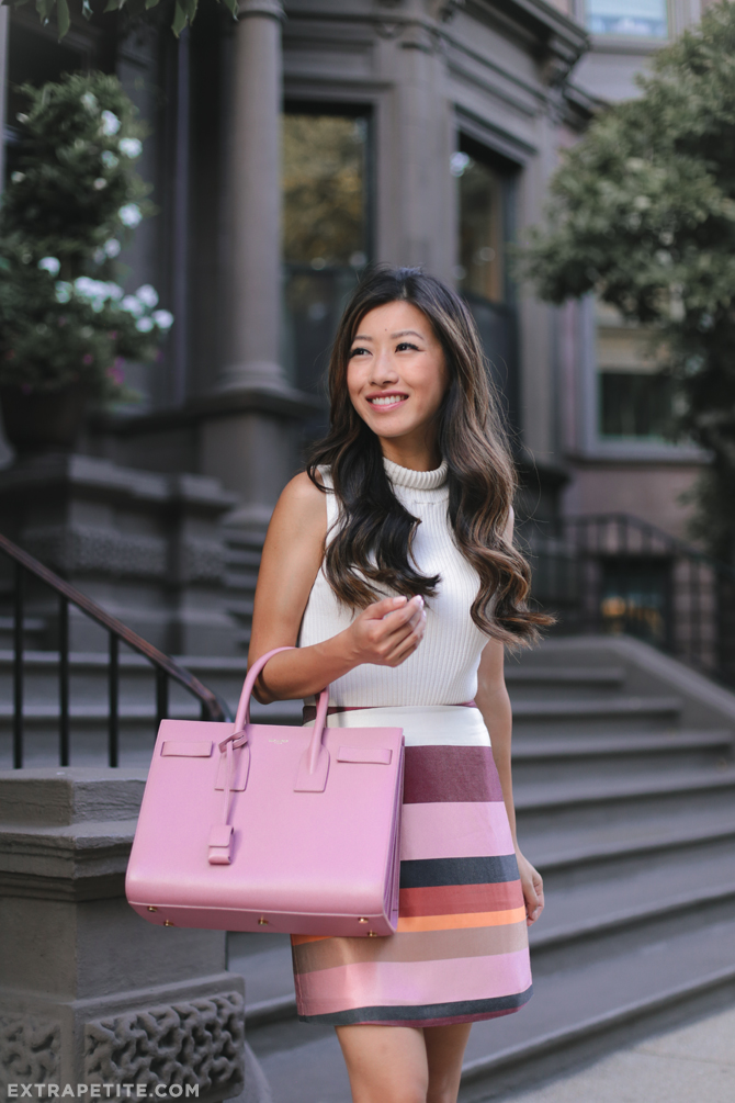 28b2eaf9227 late summer office outfit white sweater pink stripe skirt YSL bag