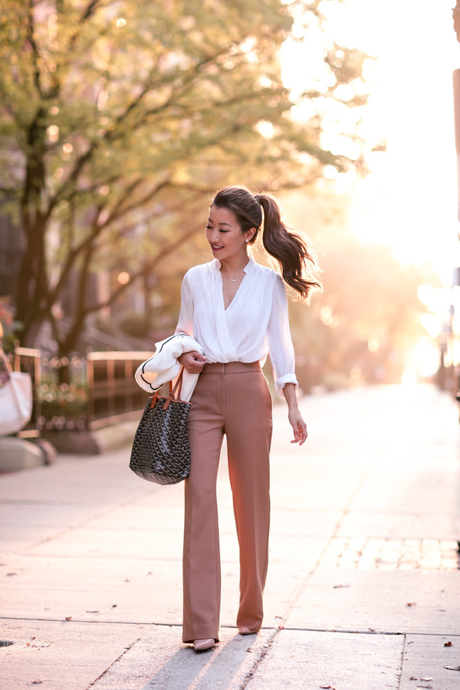camel pants petite work outfit
