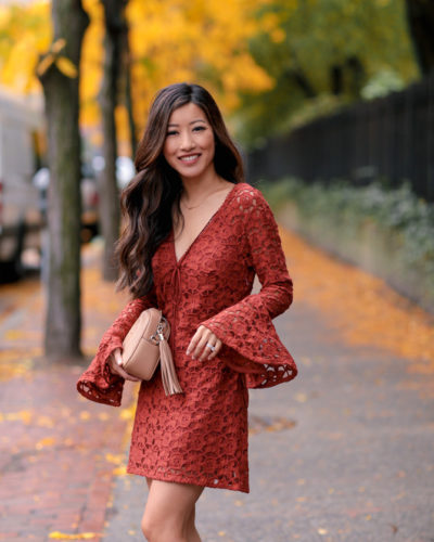 Terra Cotta Lace Dress (& shortening bell sleeves)