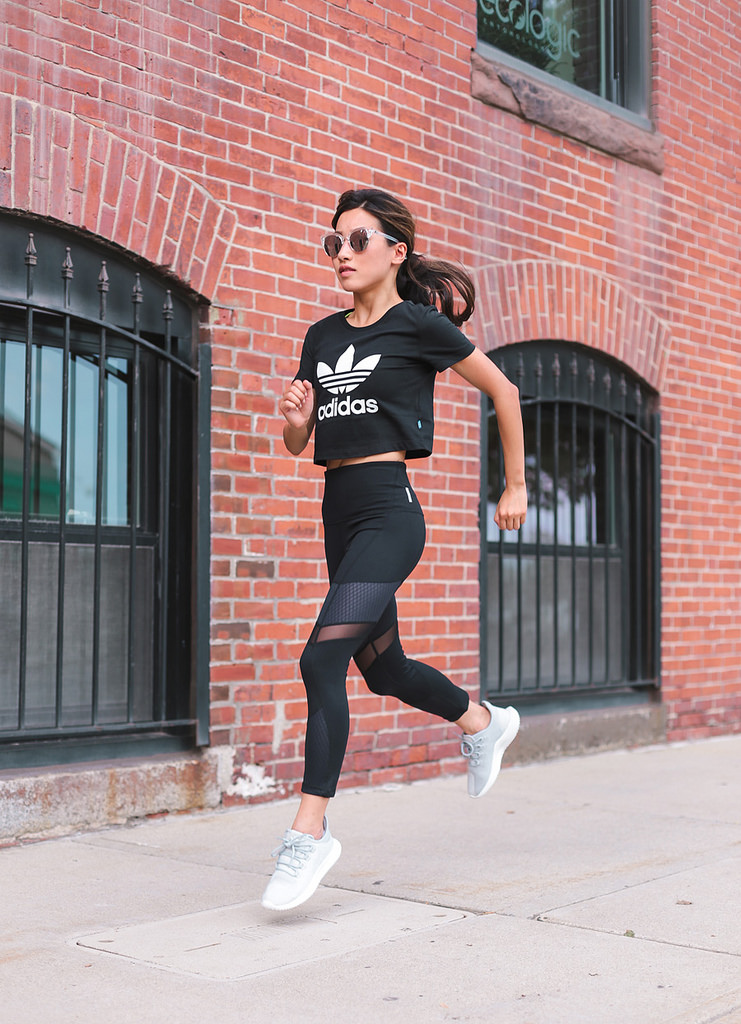online retailer 202a4 bd016 gym outfit adidas tee zella workout leggings