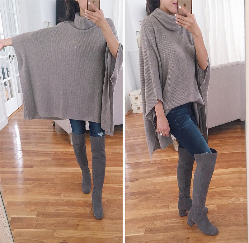 fee6cca3944 poncho tunic sweater over the knee fall boots nordstrom anniversary sale