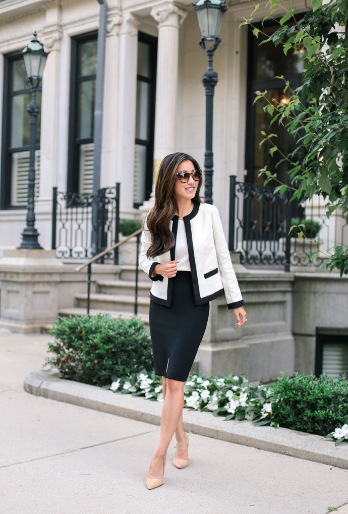 chanel style jacket professional interview work outfit