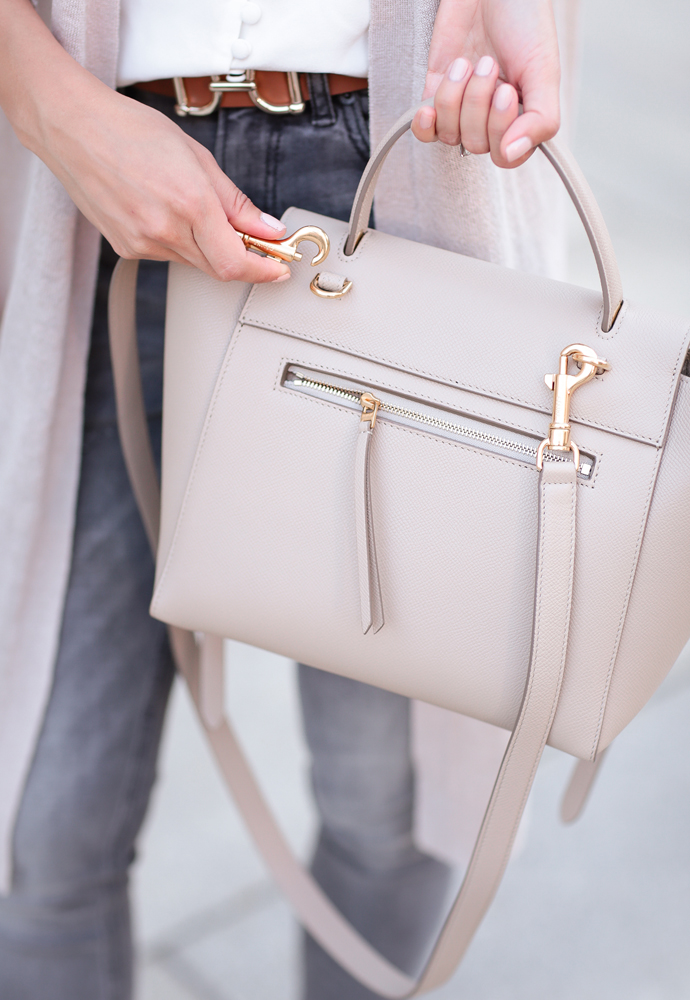 The Céline Belt bag is one of the most underrated styles in the designer purse world. Extra Petite shares this minimalist, sharp, and lightweight bag.