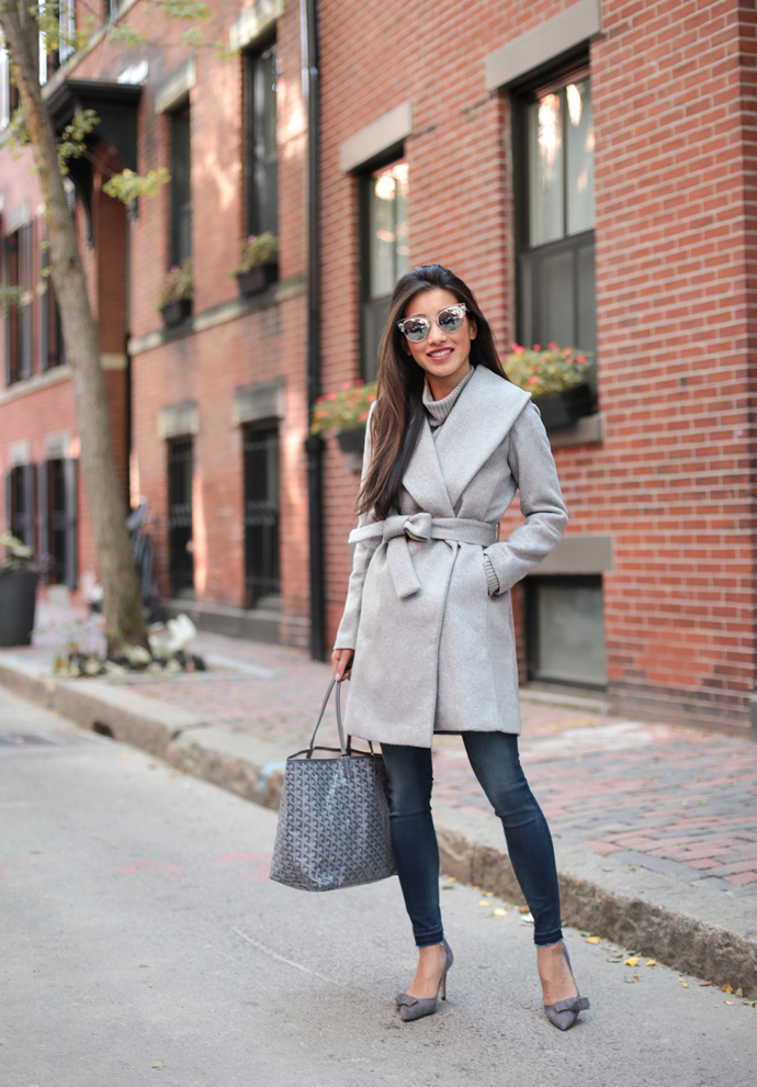 Boston style blogger, Extra Petite reviews this petite coatfrom last year and styles the wrap look with a dressier office outfit.