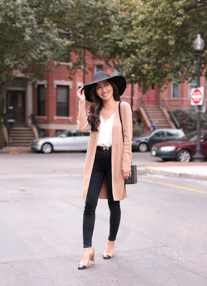 cap toe two tone pumps fall chanel style outfit