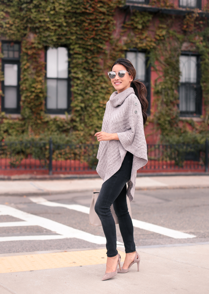 The poncho sweater can instantly up the polished factor when thrown over the simplest base outfits! See how Boston style blogger, Extra Petite styles it.