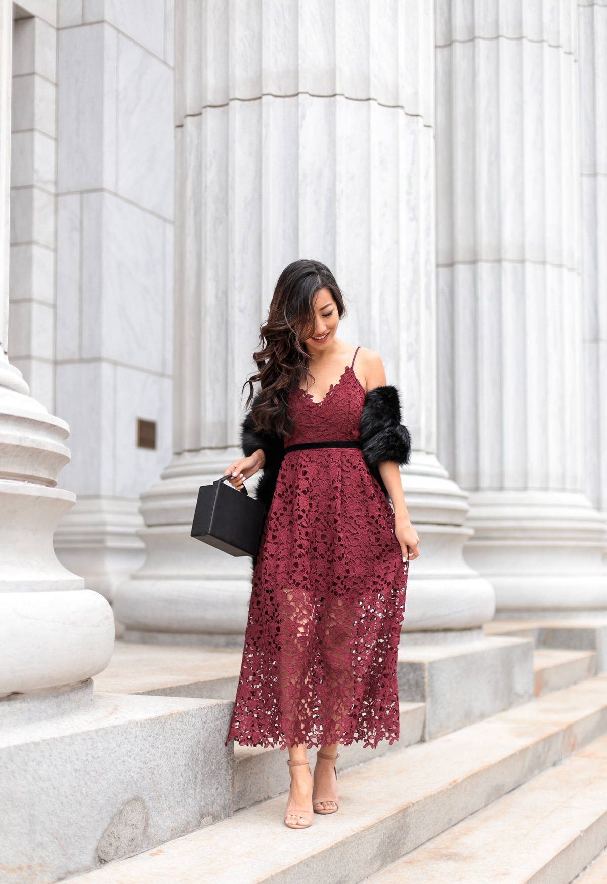 Holiday Lace Dress Faux Fur Scarf
