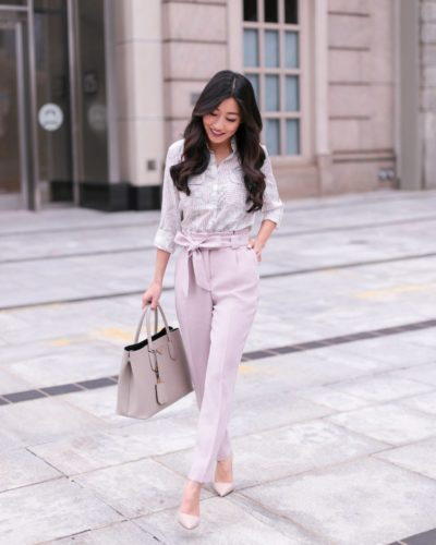 High + Tied // Neutral pink work pants