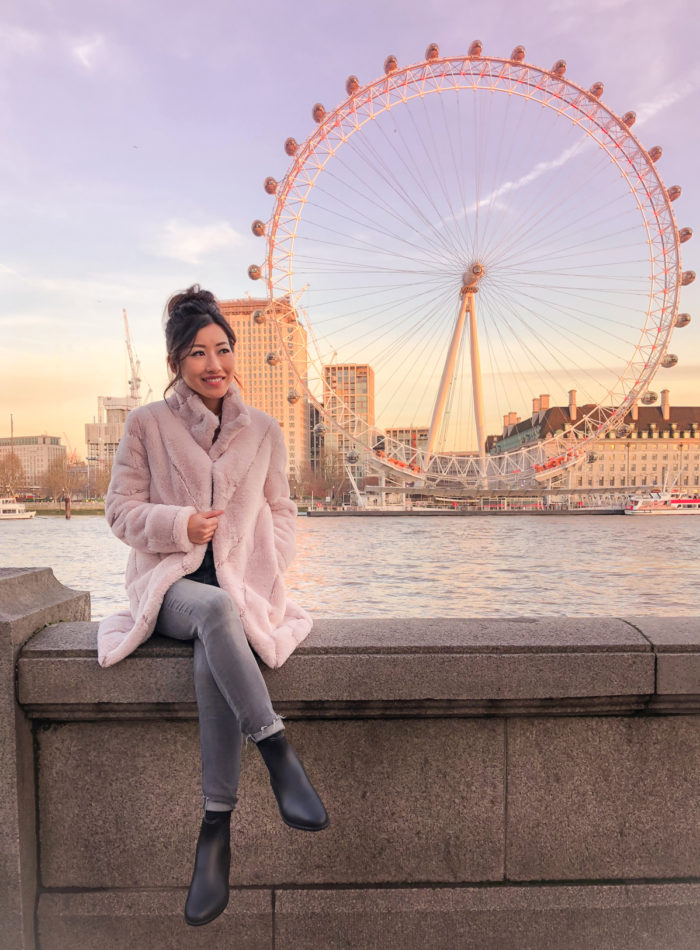 london eye sunset winter travel outfit shoes for Europe