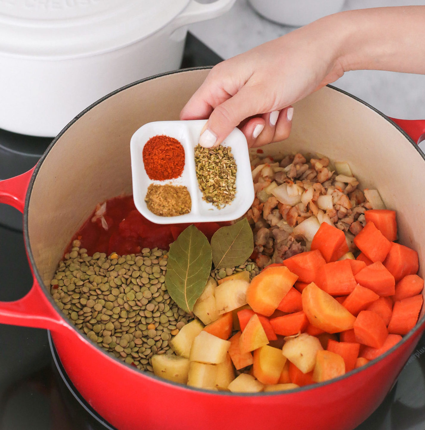 healthy easy lentil vegetable soup recipe red le creuset