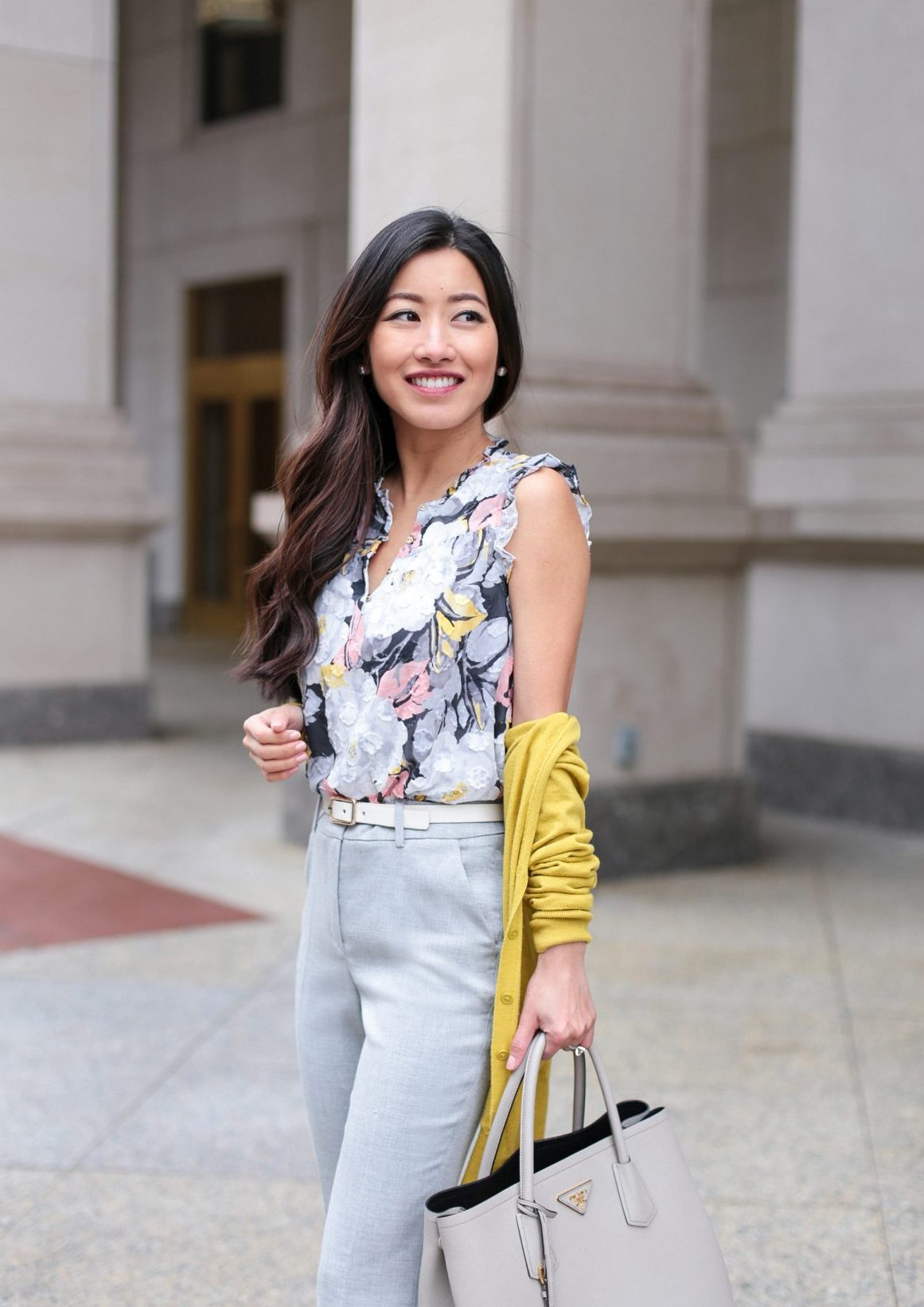 loft floral top petite work wear blog