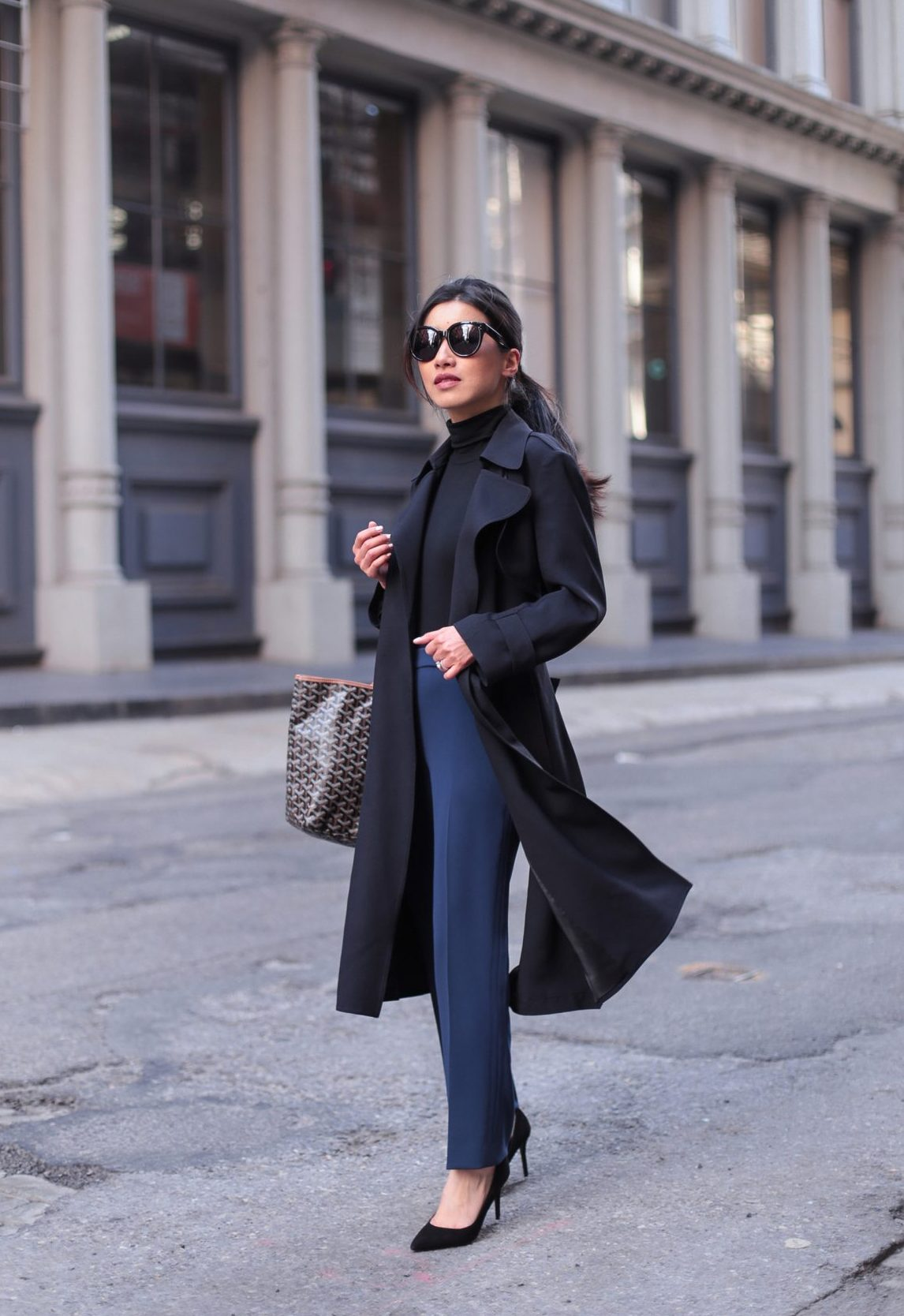 black trench coat nyc fashion blog petite style