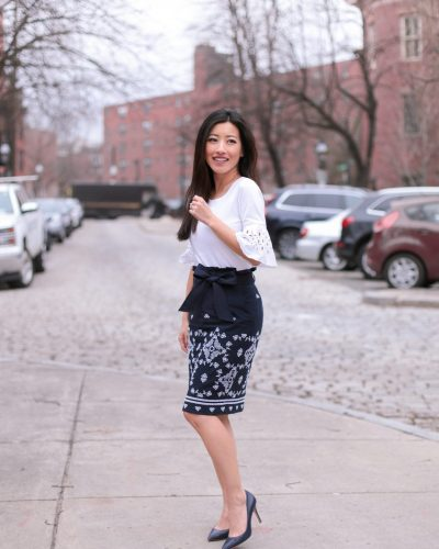 Ann Taylor Spring // Navy pencil skirt + eyelet top