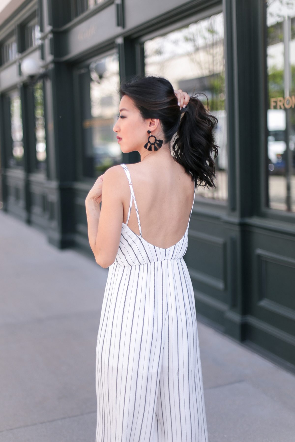 baublebar black tassel earrings backless jumpsuit