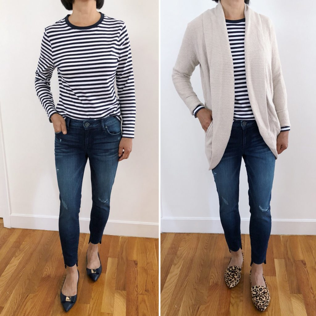 casual petite fashion outfit ideas striped tee jeans