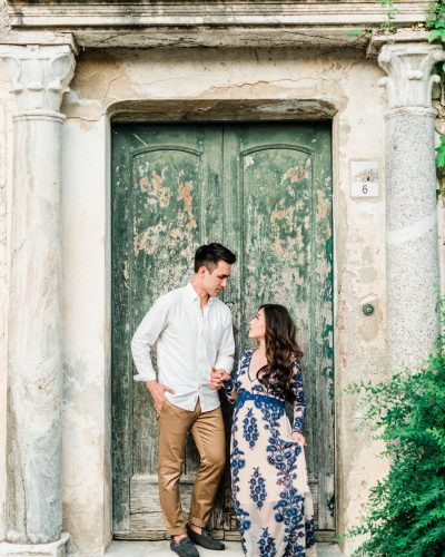 Sunset maternity photos in floral lace maxi dress