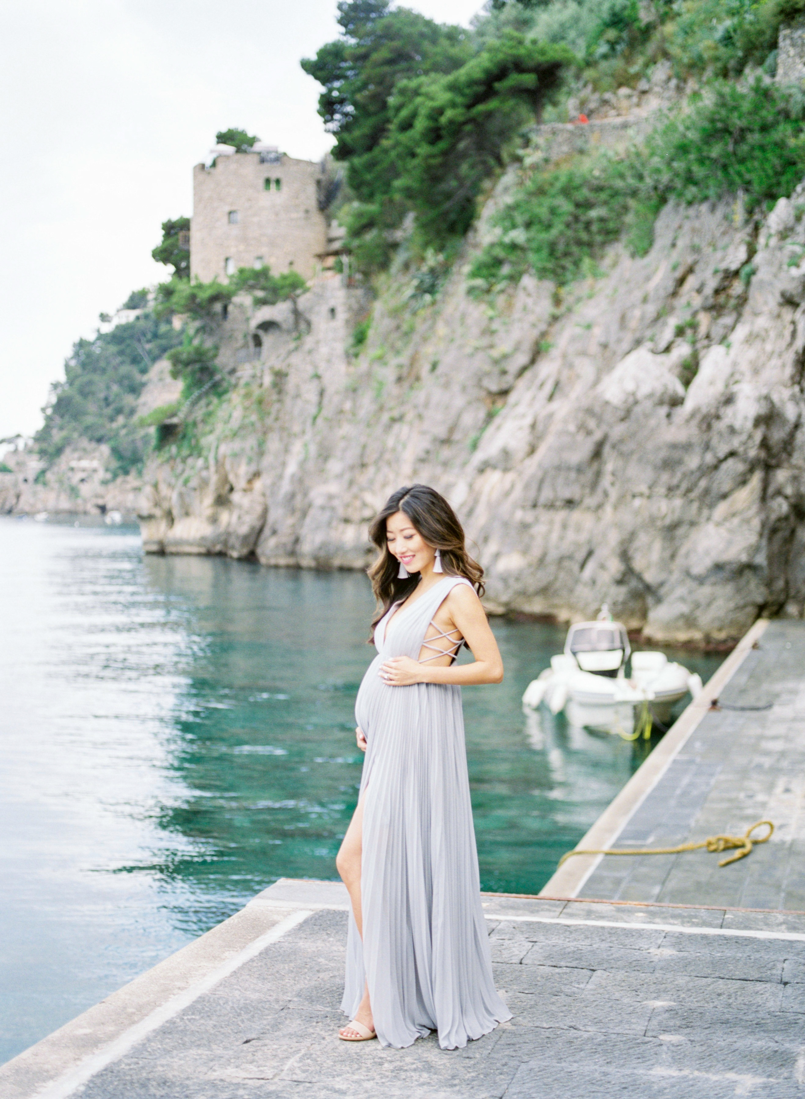 maternity photoshoot long maxi dress amalfi coast positano italy