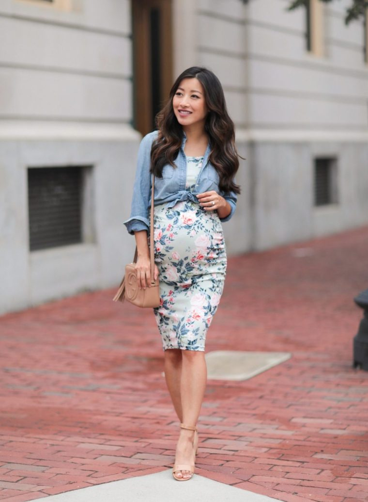 floral print maternity dress third trimester outfit ideas