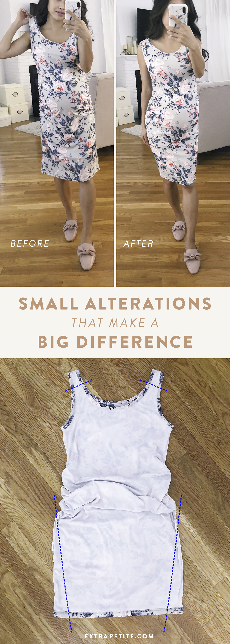 diy dress alterations tutorial for petite women