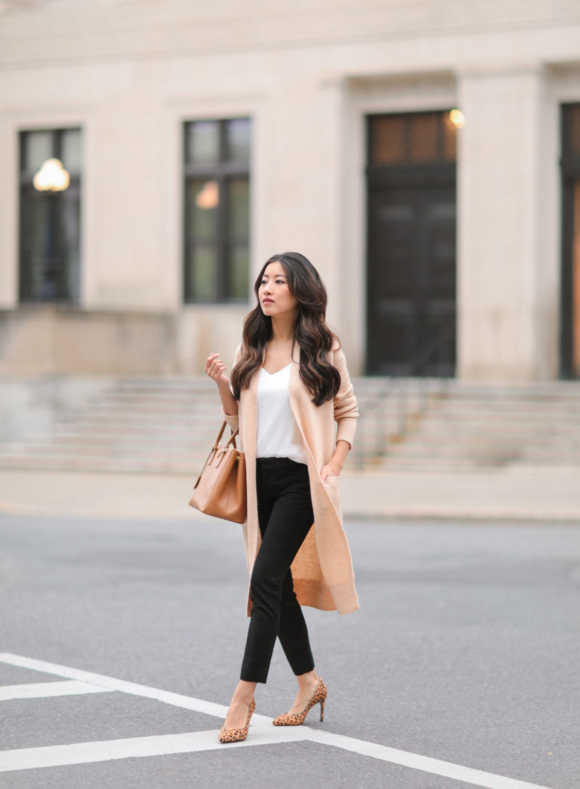 Camel duster sweater + leopard pumps