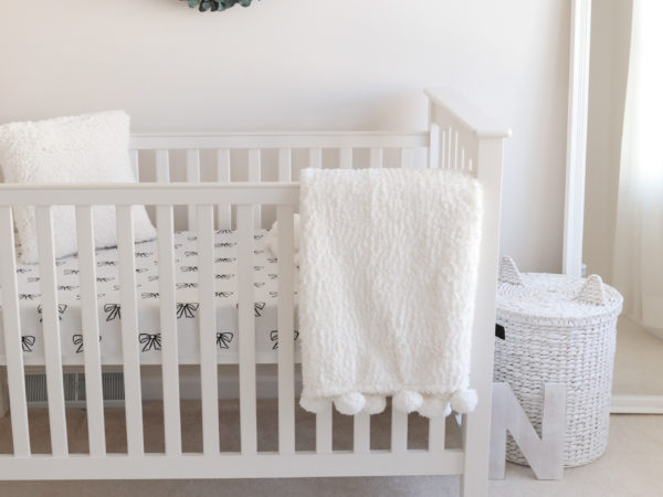 white baby girl nursery crib for petite mom women