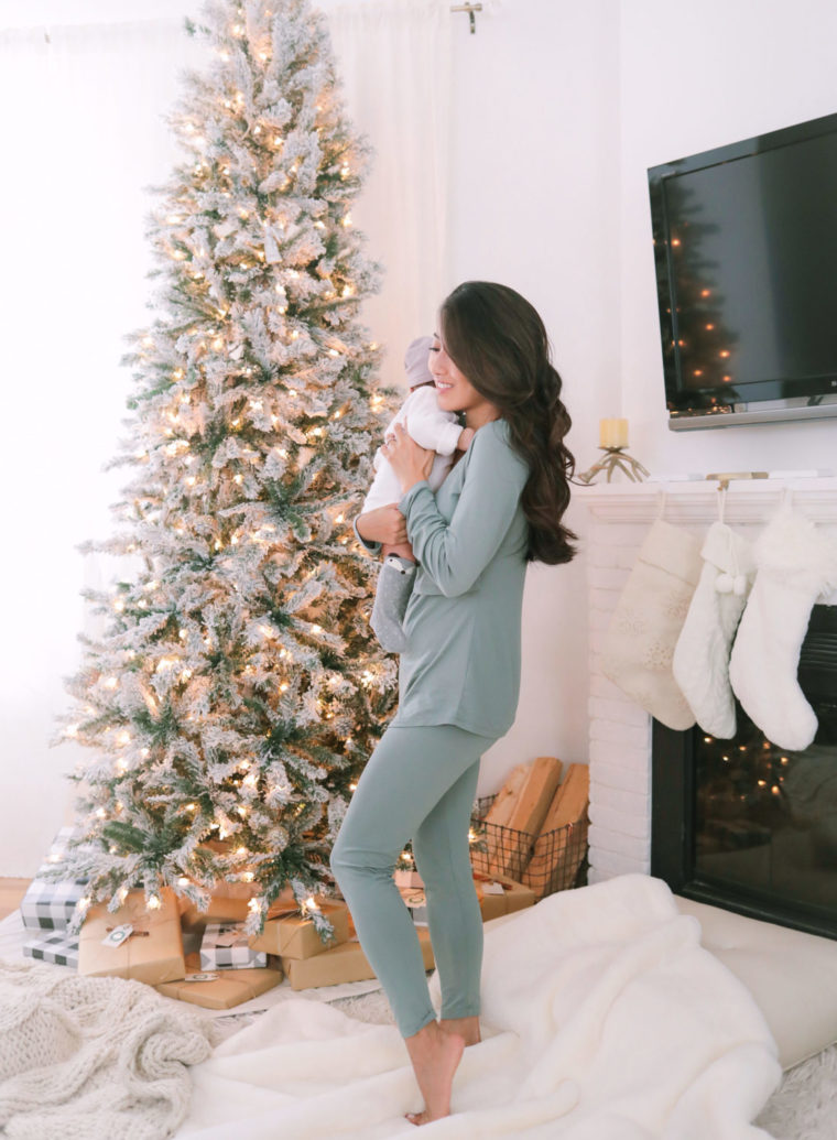 flocked tree babys first christmas nursing outfit