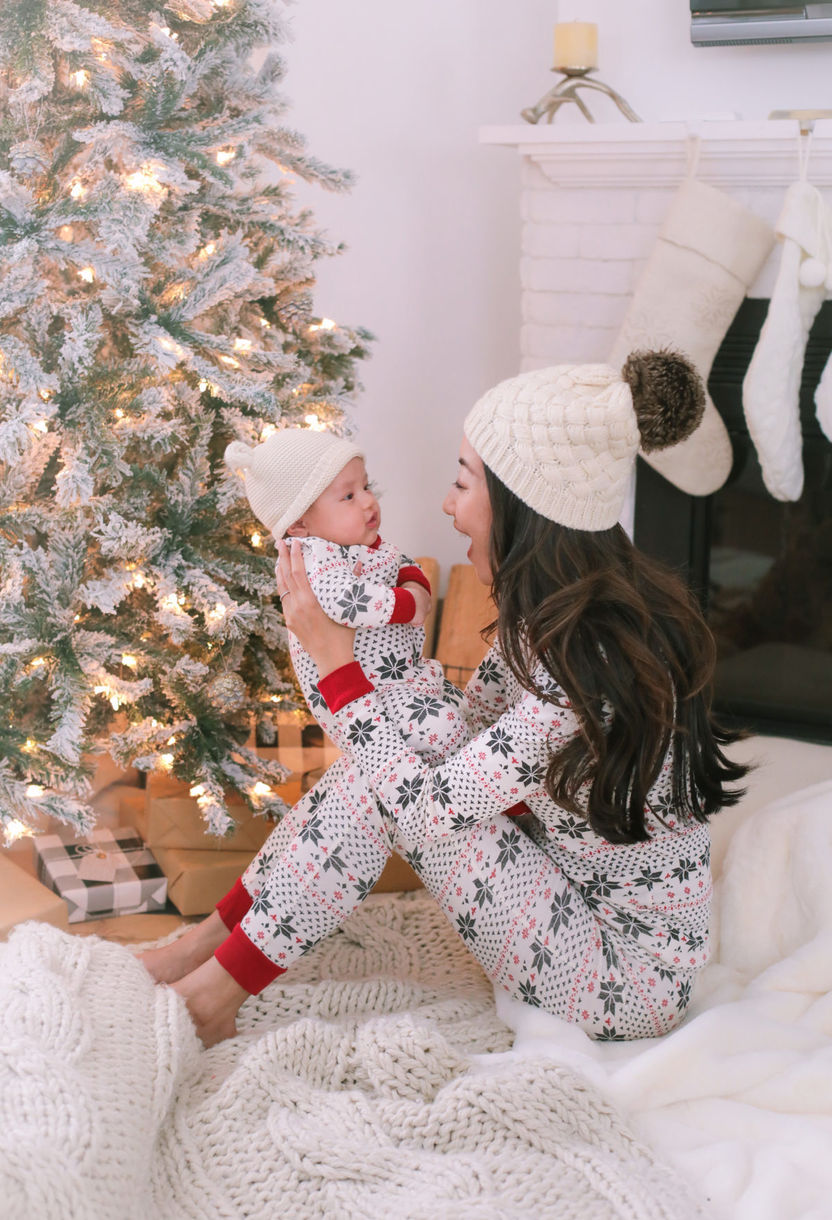 matching holiday christmas pajamas mom baby kids