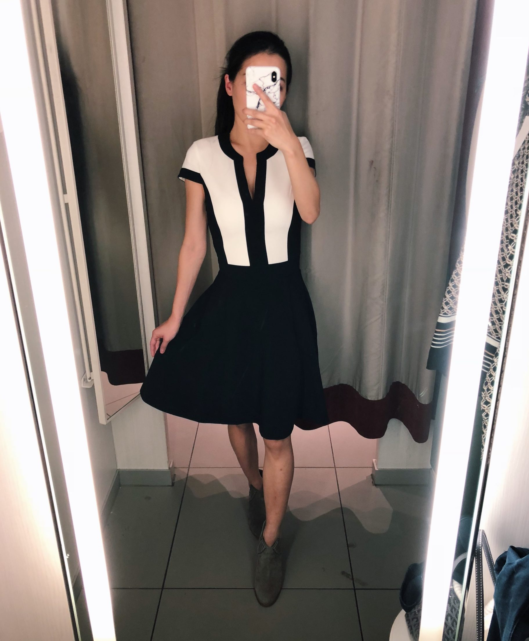 black and white dress for work