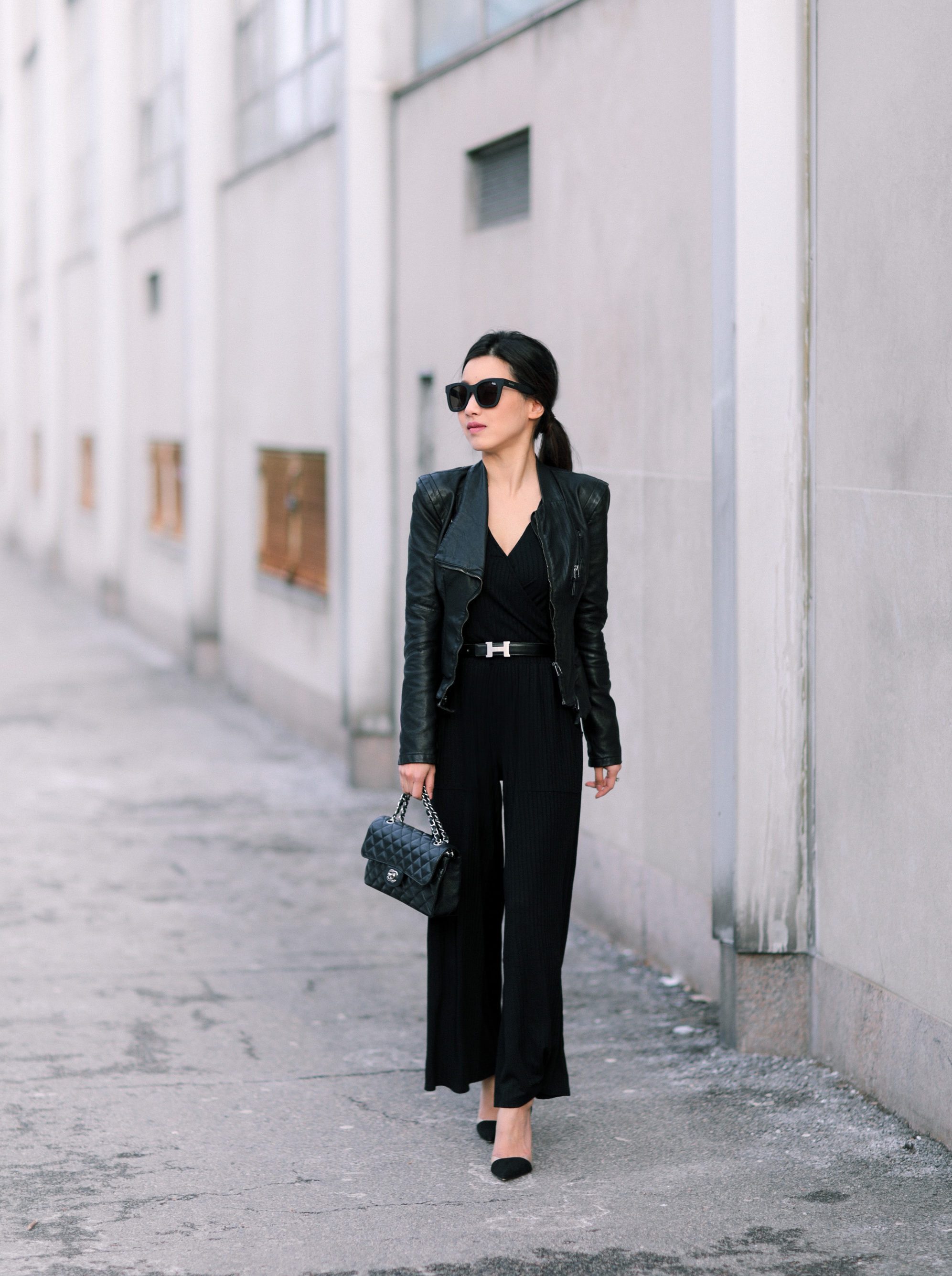 casual black jumpsuit petite fashion blog
