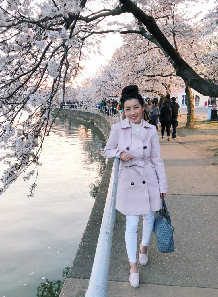 blush pink trench coat mgemi felize pastoso loafers travel outfit