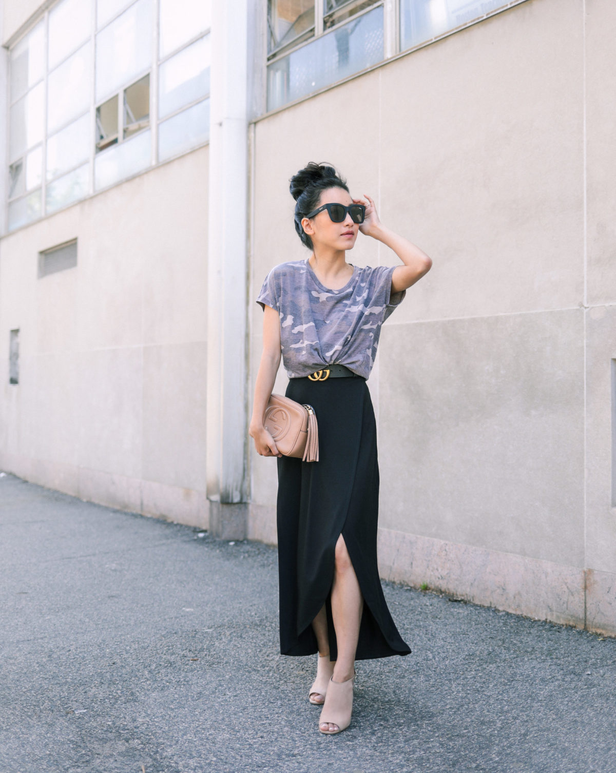 how to style a camo shirt petite black maxi skirt