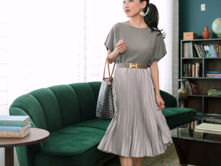 pleated skirt dolman sweater top classy outfit