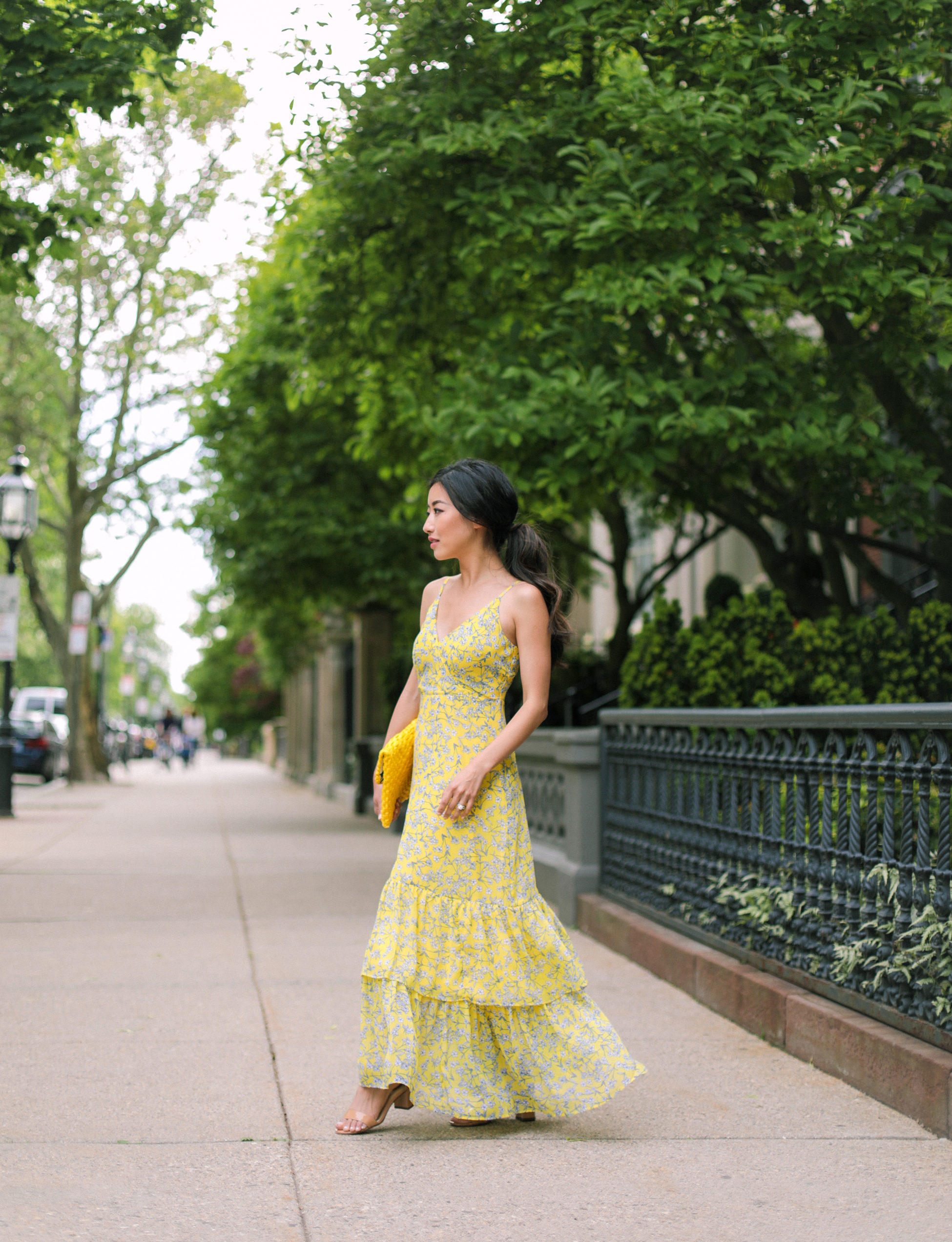 Sunny florals // tiered maxi dress + yellow clutch
