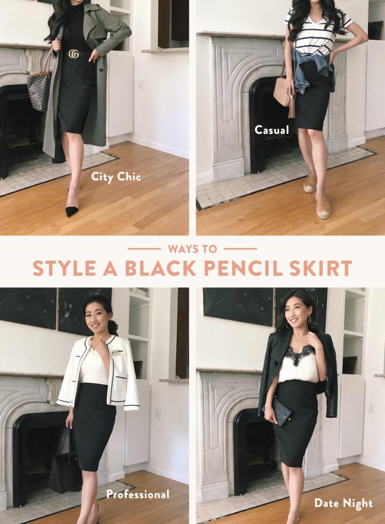 how to style black pencil skirt petite