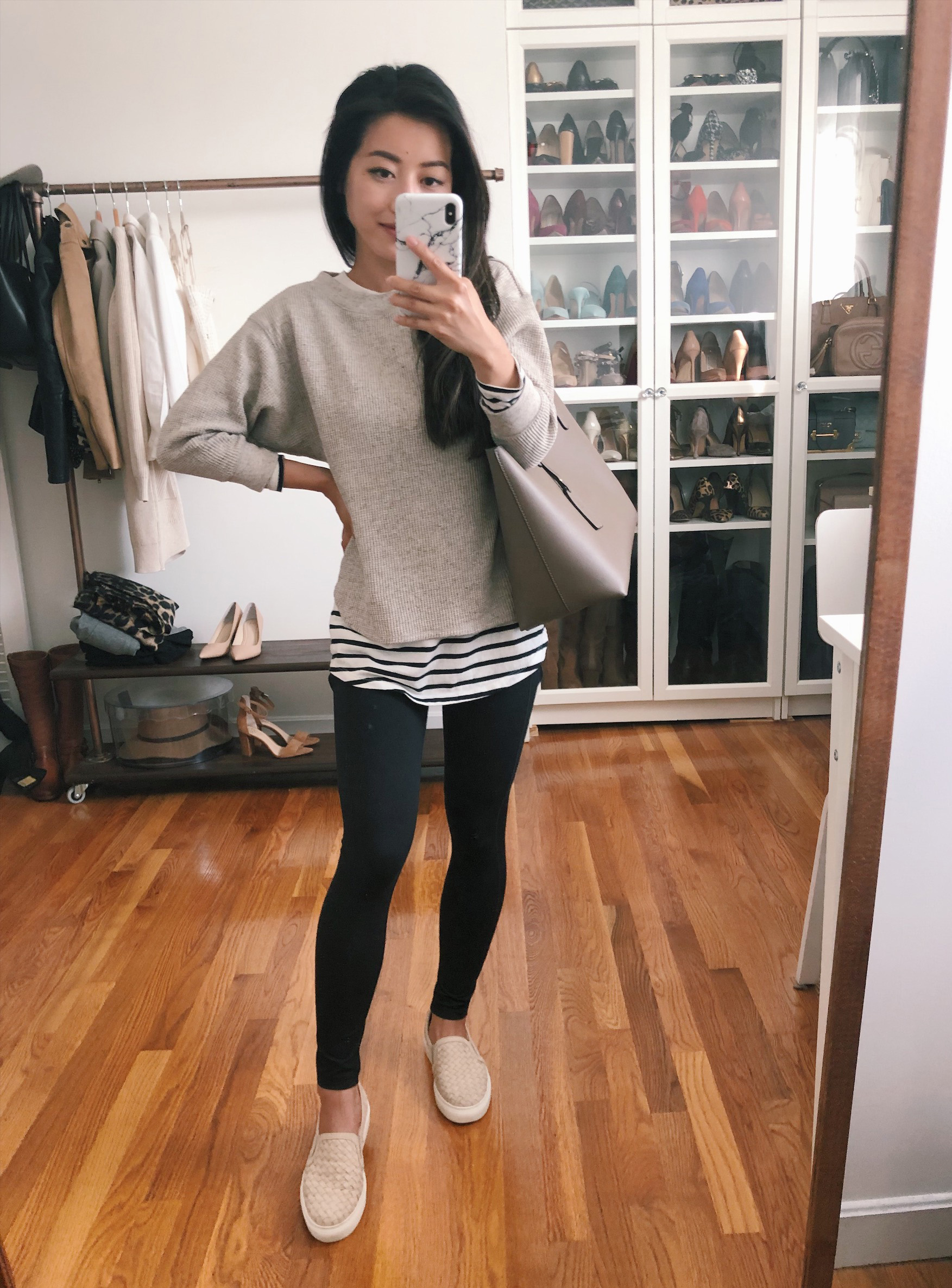 Boston style blogger, Extra Petite shares five ways to style black leggings on a petite frame. Check out the outfits she created with black Zella leggings.