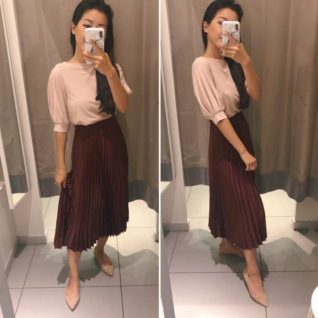burgundy petite pleated midi skirt