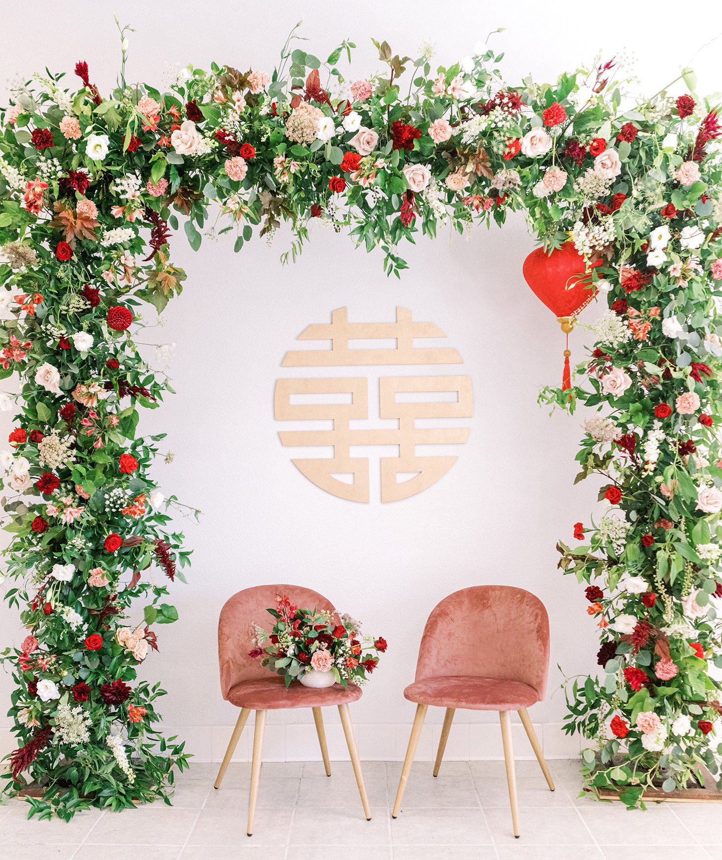 chinese wedding decor flower arch double happiness sign