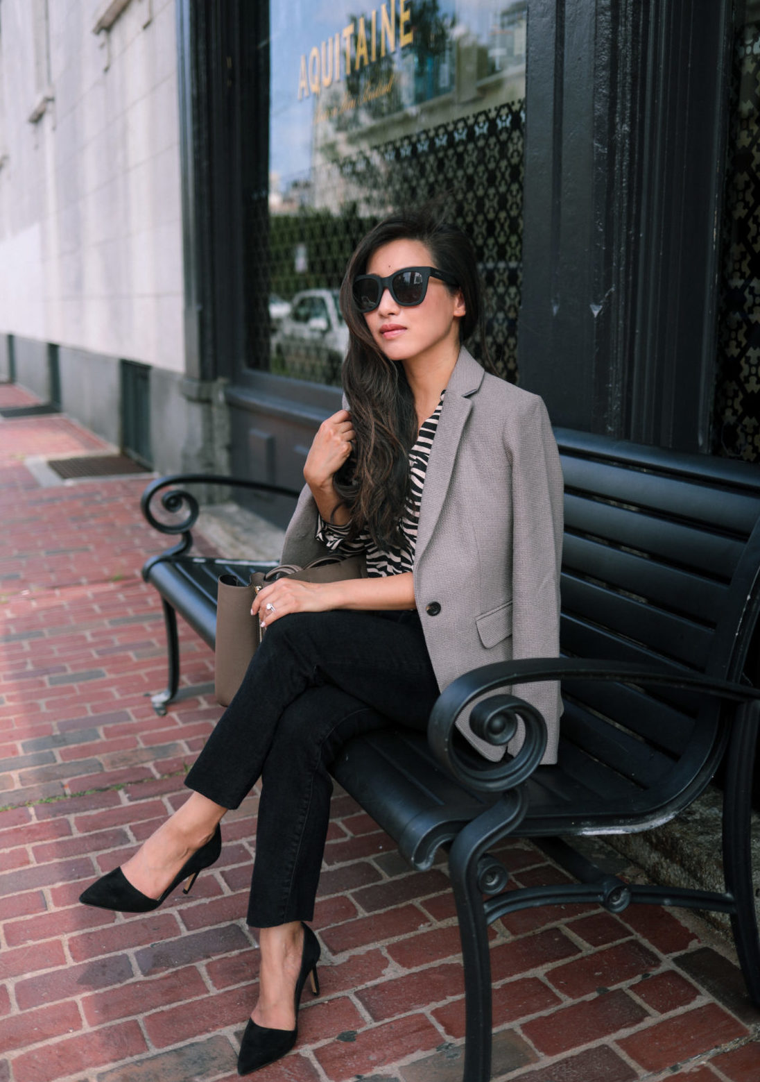 classic petite fashion blog blazer and jeans