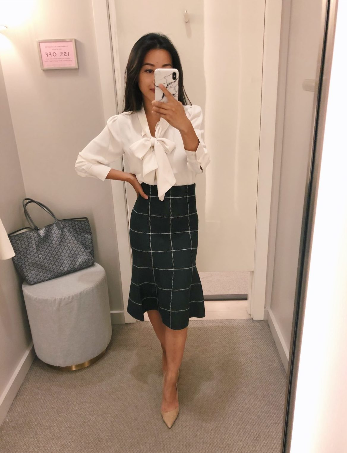 petite work outfit ideas sweater skirt