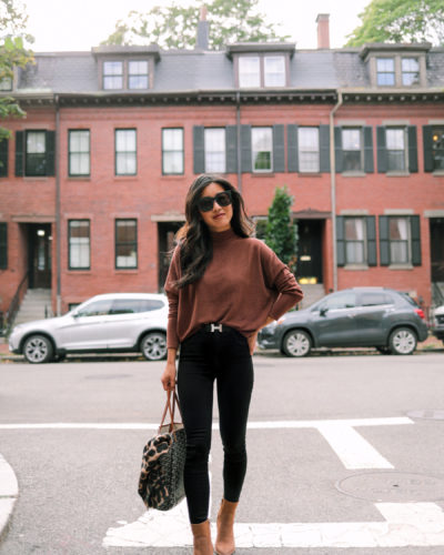 Wear it 2 ways: Cozy rib top + Cognac ankle boots