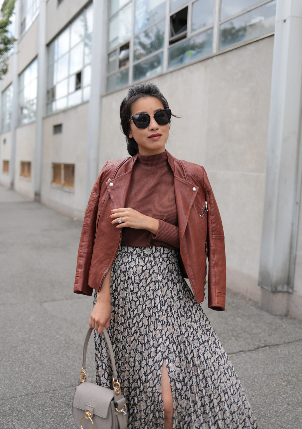 cognac brown leather jacket petite fall outfits